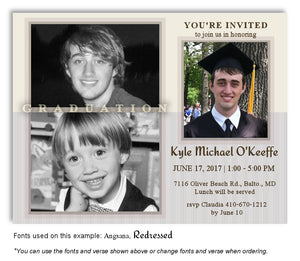 Cream Gray Invitation Photo Graduation Magnet