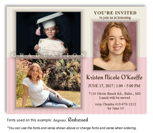 Cream Pink Invitation Photo Graduation Magnet