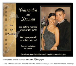 Gold-Black Save the Date Wedding Photo Magnet