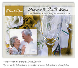 Gold Wine and Roses Thank You Anniversary Photo Magnet