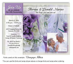 Orchid Wine and Roses Invitation Anniversary Photo Magnet