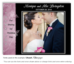 Mauve-Black Thank You Wedding Photo Magnet