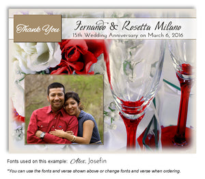 Red Wine and Roses Thank You Anniversary Photo Magnet