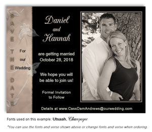 Taupe-Black Save the Date Wedding Photo Magnet