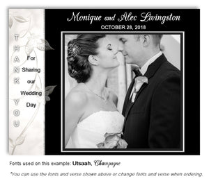 White-Black Thank You Wedding Photo Magnet