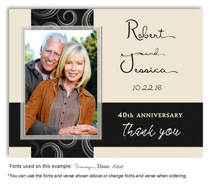 Black and Cream Contemporary Thank You Photo Anniversary Magnet