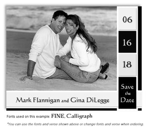 Black Save the Date Wedding Photo Magnet