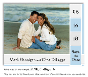 Blue Save the Date Wedding Photo Magnet