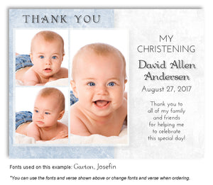 Blue Two Tone Thank You Photo Baptism Magnet