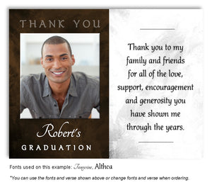 Brown White Thank You Photo Graduation Magnet