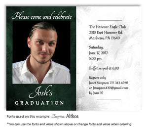 Dark Green White Invitation Photo Graduation Magnet