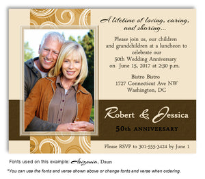 Gold and Brown Contemporary Invitation Photo Anniversary Magnet