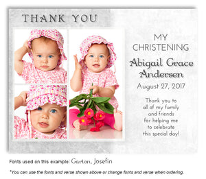 Gray Two Tone Thank You Photo Baptism Magnet