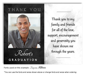 Gray White Thank You Photo Graduation Magnet