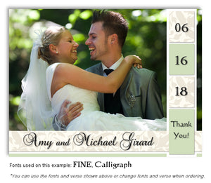 Green Thank You Wedding Photo Magnet