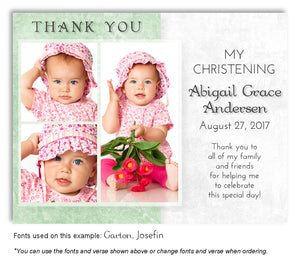 Green Two Tone Thank You Photo Baptism Magnet