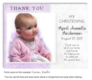 Lavender Two Tone Thank You Photo Baptism Magnet
