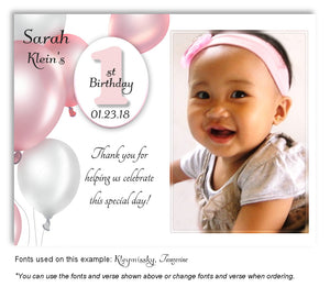 Pink  Balloons Thank You Birthday Photo Magnet