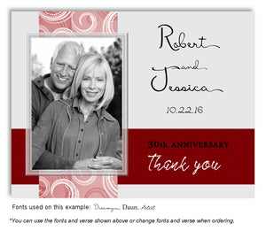 Red and Gray Contemporary Thank You Photo Anniversary Magnet