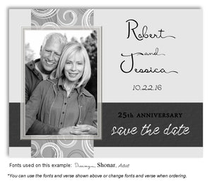 Silver Contemporary Save the Date Photo Anniversary Magnet