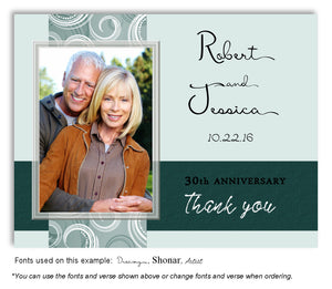 Teal Contemporary Thank You Photo Anniversary Magnet
