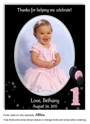 Black-Pink Numbered Thank You Photo Birthday Magnet