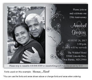 Black and Silver Symmetry Invitation Anniversary Photo Magnet