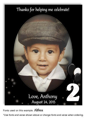 Black-White Numbered Thank You Photo Birthday Magnet