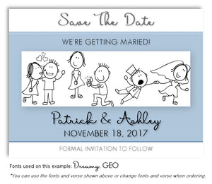 Blue Story Panel Save the Date Wedding Magnet