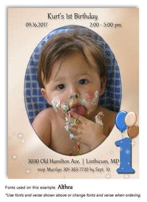 Blue-Tan Numbered Invitation Photo Birthday Magnet