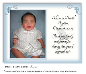 Blue Prayer Thank You Photo Baptism Magnet