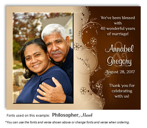Brown and Cream Symmetry Thank You Anniversary Photo Magnet