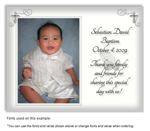 Gray Prayer Thank You Photo Baptism Magnet