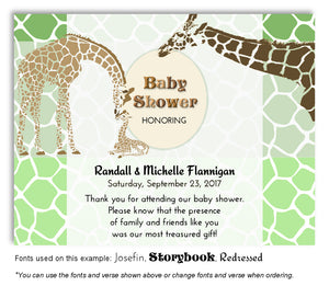 Green Giraffe Family Thank You Baby Shower Magnet