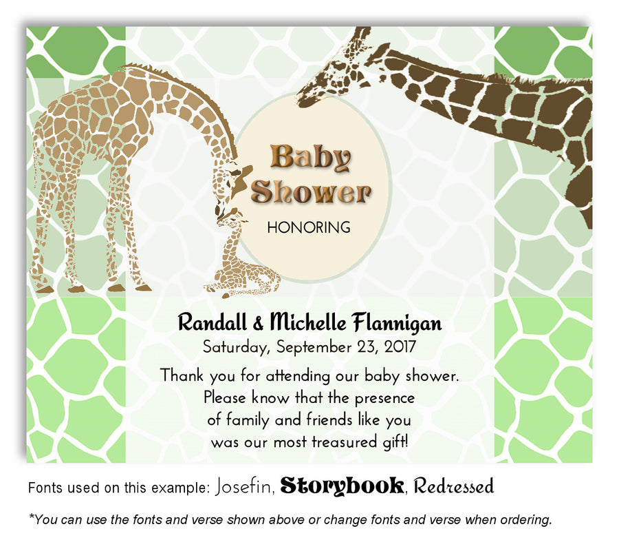 Brown Giraffe Family Invitation Baby Shower Magnet