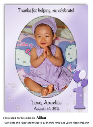 Lavender Numbered Thank You Photo Birthday Magnet