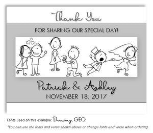 Light Gray Story Panel Thank You Wedding Magnet