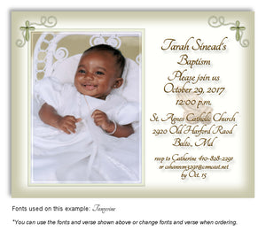 Olive Prayer Invitation Photo Baptism Magnet