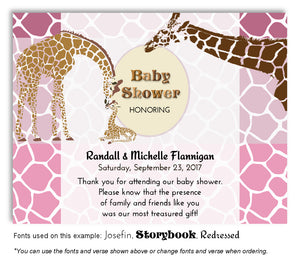 Pink Giraffe Family Thank You Baby Shower Magnet