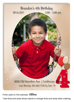 Red-Tan Numbered Invitation Photo Birthday Magnet