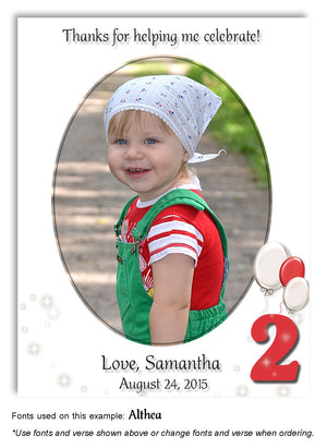 Red-White Numbered Thank You Photo Birthday Magnet