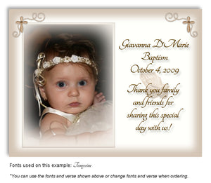 Tan Prayer Thank You Photo Baptism Magnet