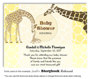 Yellow Giraffe Family Thank You Baby Shower Magnet