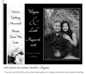 Black Daisy Save the Date Wedding Photo Magnet