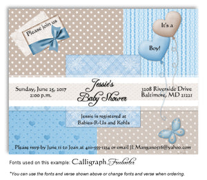 Blue-Tan Wallpaper Squares Invitation Baby Shower Magnet