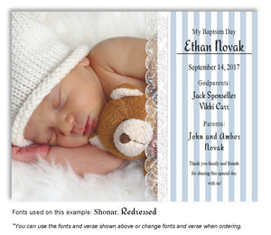 Blue Stripes and Lace Thank You Photo Baptism Magnet