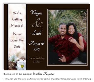 Brown Daisy Save the Date Wedding Photo Magnet