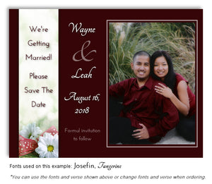 Burgundy Daisy Save the Date Wedding Photo Magnet