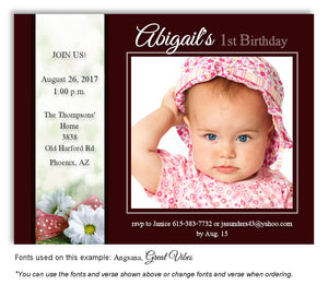 Burgundy Daisy Invitation Photo Birthday Magnet