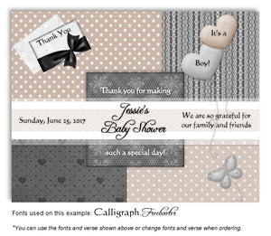 Dark-Gray-Tan Wallpaper Squares Thank You Baby Shower Magnet